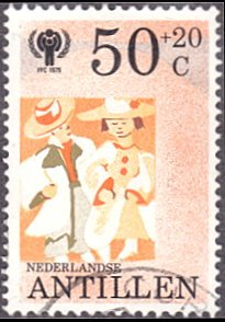 Netherlands Antilles # B171 used ~ 50¢ + 20¢ Children Wearing Adult Clothing