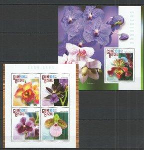 ST1160 2014 Guinea Bissau Flora Blumen Orchideen Orquideas KB + Bl MNH Stempel
