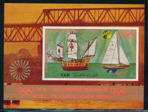 Yemen - Munich Olympic Games MNH Souvenir Sheet Sailing Painting  (1972)