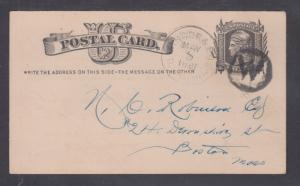 US Sc UX5 used. 1880 1c Postal Card, BANGOR & BOS plus W in Circle Railway Can