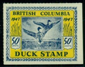 CANADA - BRITISH COLUMBIA 1947 50¢ DUCK STAMP, unused no gum, VF