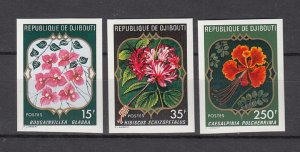 DJIBOUTI SC# 477-479 FLOWERS -MNH -  IMPERF SET