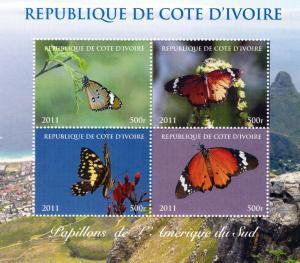 Ivory Coast 2011 Butterflies South AmericaShlt (4) Perf.MNH