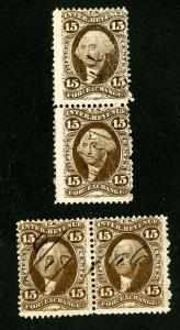 US Stamps # R39c 2x Fresh Pairs Scott Value $100.00