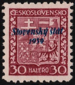 ✔️ SLOVAKIA 1939 - SLOVENSKY STAT OVERPRINT - SC.6 MNH OG [SK006]