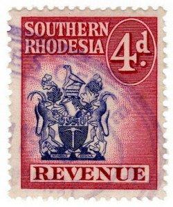(I.B) Southern Rhodesia Revenue : Duty Stamp 4d