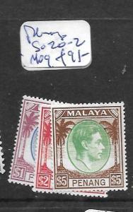 MALAYA PENANG  (P2303B) KGVI $1.00-$5.00 SG 20-2  MOG