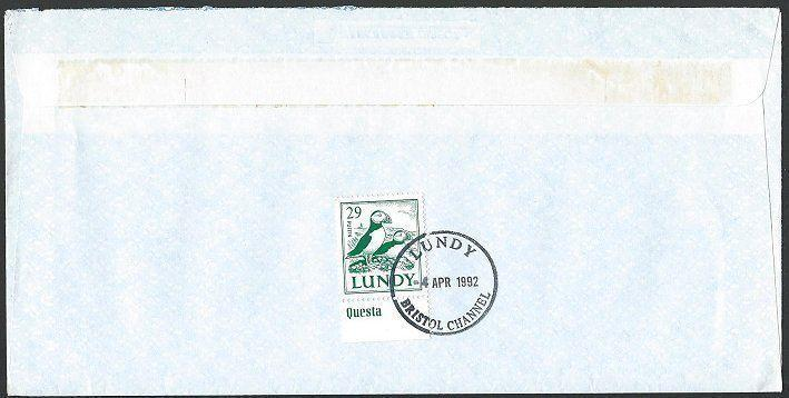 GB LUNDY 1992 cover 29p Puffin.............................................10640