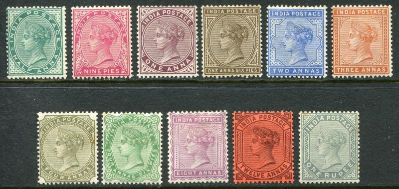 India QV 1882-90 ½a-1r basic set to 1r SG 84-101 hinged mint (cat £225)