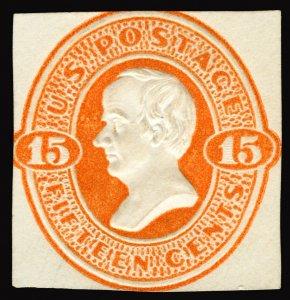 #U200 1874-86 15c Orange on Cream Embossed Envelope Cut Square Unused