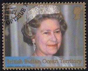 BIOT 2001 used Sc #242 55p Wearing tiara QEII 50th ann Reign