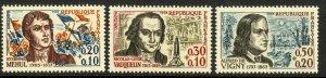 FRANCE 1963 FAMOUS FRENCHMEN Red Cross Semi Postal Set Sc B371-B373 MNH