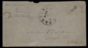 CSA Salisbury NC North Carolina Civil War Confederate Stampless Paid Cover 92869