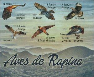 St. Thomas & Prince Islands 2016 Sc 3197 Birds Raptors Eagle Falcon CV $10.50