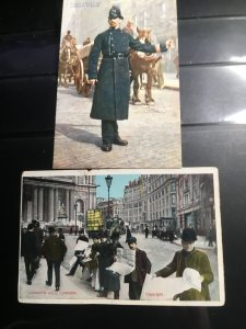 GB Early 1900's (2) Unused Postcards Policeman On Traffic Duty & Ludgate Hill St