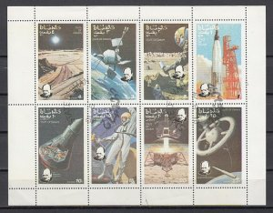 Oman State, 1974 Local issue. Space sheet of 8. Churchill. Canceled. ^