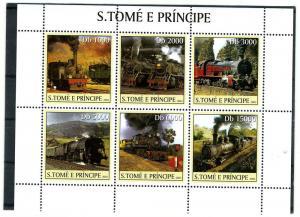 Sao Tome & Principe 2003 Trains & Locomotives Sheet (6) Perforated mnh.vf