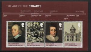 Great Britain Sc 2814 2010 House of Stuart stamp sheet mint NH