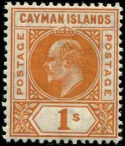 Cayman Islands SC# 12 SG# 12 Edward VII 1sh wmk 3 MNH