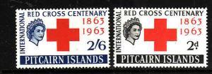 Pitcairn Is-Sc#36-7-unused light hinge set-Red Cross-Omnibus-1963-