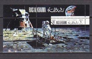 Ras al Khaima, Mi cat. 396, BL91 A. Apollo 11 s/sheet. Canceled.  ^