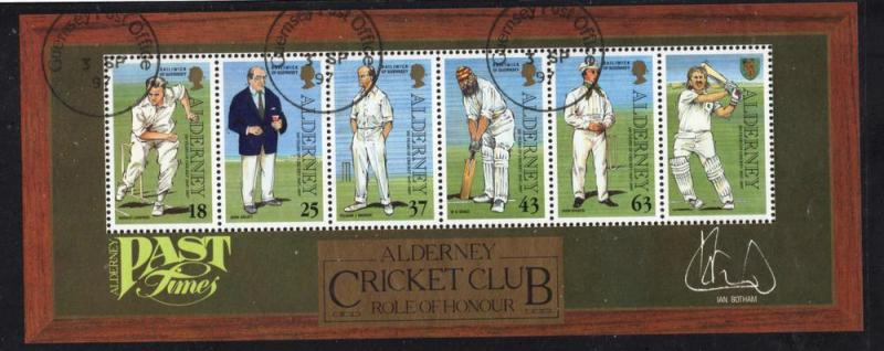 Alderney Sc 105a 1997 Cricket Club stamp sheet used