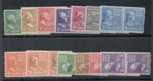 US #839-51 Complete set, Joint Line Pairs, og, LH, VF, Scott $139.90