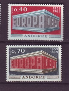 J21997 Jlstamps 1969 french andorra set #188-89 europa