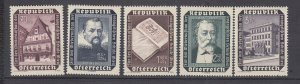 J29513,  1953 austria set mh #b281-5 designs