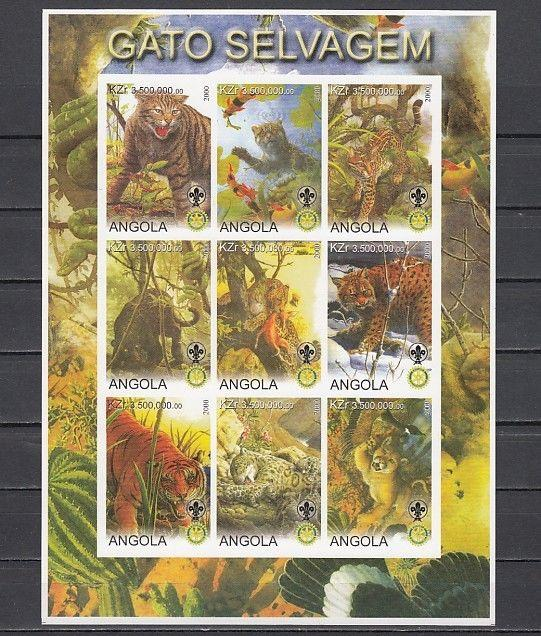 Angola, 2000 Cinderella issue. Wild Cats, Vertical IMPERF sheet. Scout Logo.