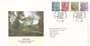Great  Britain England 2001 FDC Sc #1-#4 Definitives