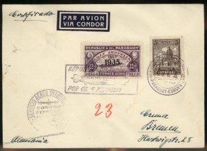 Paraguay 1935 Graf Zeppelin 7.SAF Si310 Germany Cover 98884
