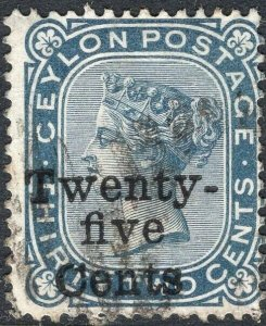 CEYLON-1885 25c on 32c Slate Sg 167 FINE USED V50128