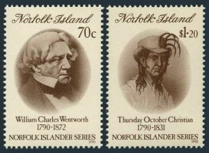 Norfolk 495-496,MNH. William Charles Wentworth,Trusday October Christian,1990.