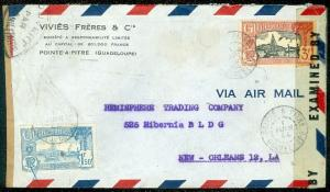 GUADELOUPE : 1944 Censored Air Mail cover to USA.