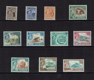Cyprus: 1955 Definitive set, short set to 50 mils, Mint lightly hinged.