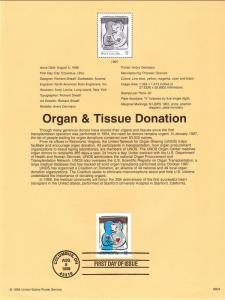US SP1276 Organ and Tissue Donation 3227 Souvenir Page FDC