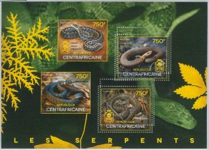 868 - CENTRAL AFRICAN R. - ERROR - MISSPERF stamp sheet 2014  SNAKES