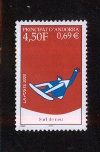 ANDORRA FRENCH 2000 MNH SC.519 Snowboarding