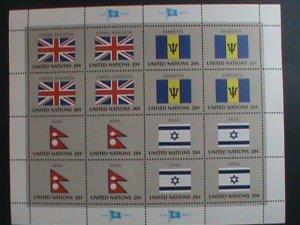 UNITED NATION-1983 SC#399-402- U. N. FLAGS SERIES MNH FULL SHEET- VERY FINE