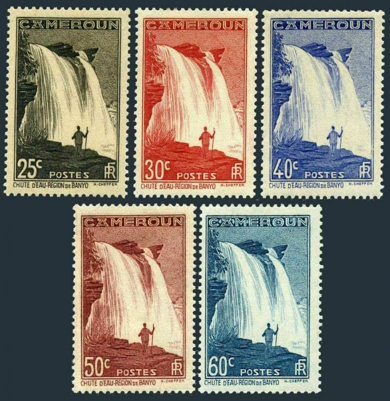 Cameroun 232-234,236-237,hinged. Falls on M'bam River near Banyo,1939-1940.