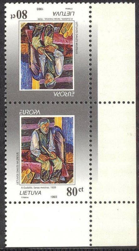 Lithuania 1993 Europa CEPT Art Paintings Pair MNH