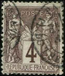 France SC# 90a Peace & Commerce 4c USED SCV $4.50 Violet Brown
