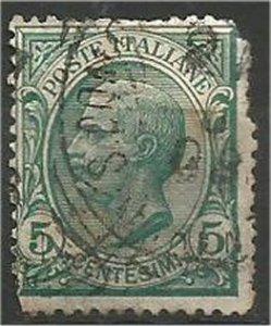 ITALY, 1906, used 5c, King Humbert I  Scott 94 damage