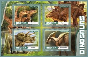 Stamps. Dinosaurs Set 2 sheet perforated