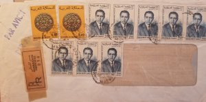 J) 1965 MOROCCO, CONIS, REGISTERED, ILLUSTRATED PEOPLE, MULTIPLE STAMPS, AIRMAIL