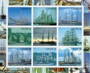 Turkmenistan 2000 SHIPS Sheetlet of 9 values perforated MNH