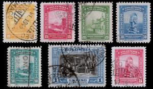Colombia Scott C122-C125, C127, C130, C222 (1941, 1952) Used H F-VF B