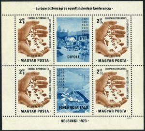 Hungary 2239a/labels,MNH.Michel Bl.99. European Security & Cooperation,1973.