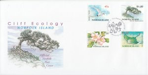 Norfolk Island 2002 FDC Sc #754-757 Cliff Ecology - Tropicbird, White oak tre...